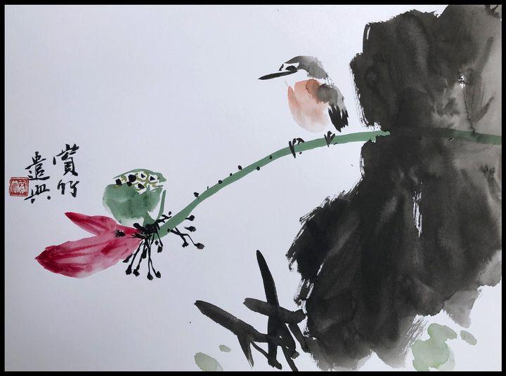 bird resting on lotus - bamboo