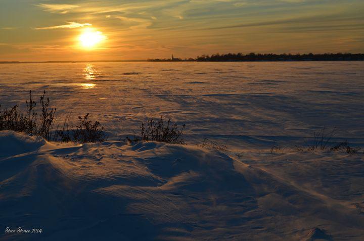 Sunset Over Frozen Lake - Steve Stones