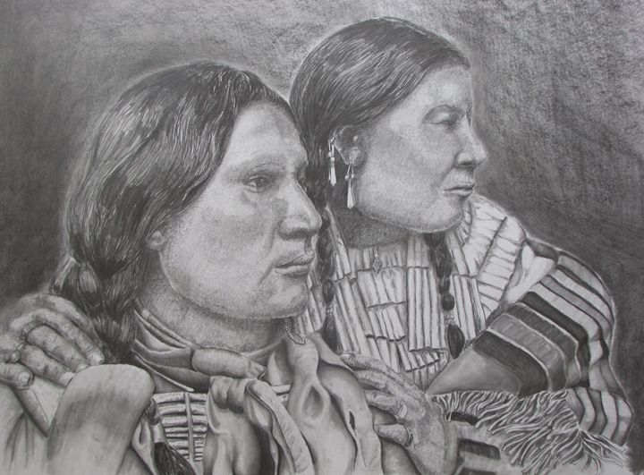 American Horse and wife - Pencil by Nail