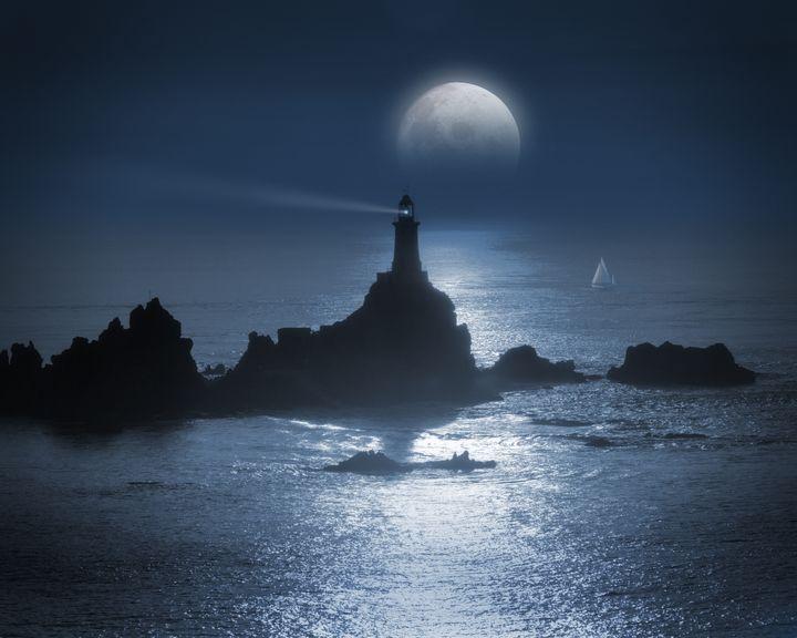 Moon over La Corbiere Lighthouse - Edmund Nagele F.R.P.S.