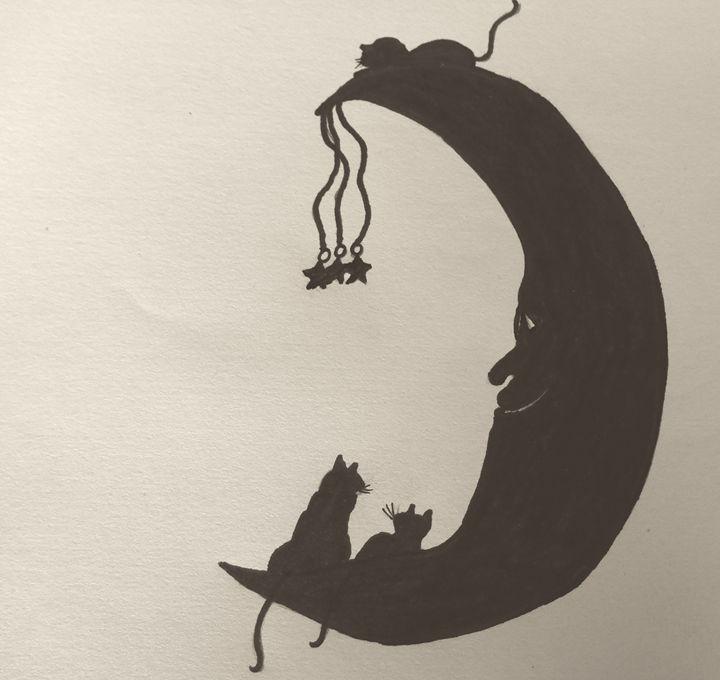 Kitties play on the moon - Holly's Gallery of Art