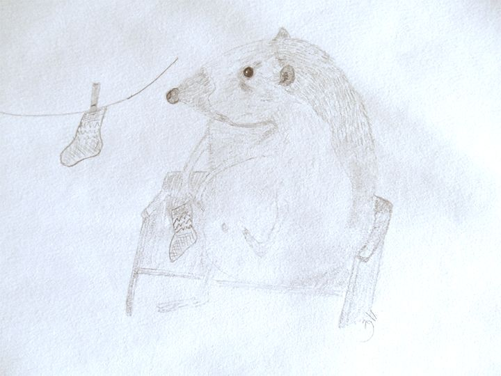 Hedgehog putting his socks on - Holly's Gallery of Art