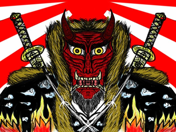Japan Demon Mask color - Japapnese Arts