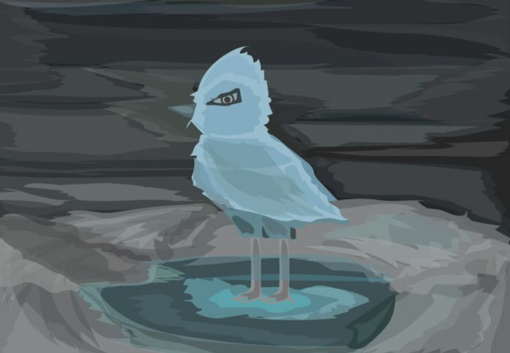 Ice bird in the pond - vector artworks