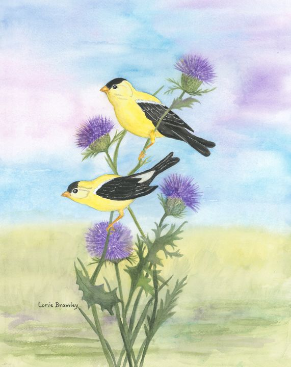 Gold Finches on Thistles - Lorie Bramley