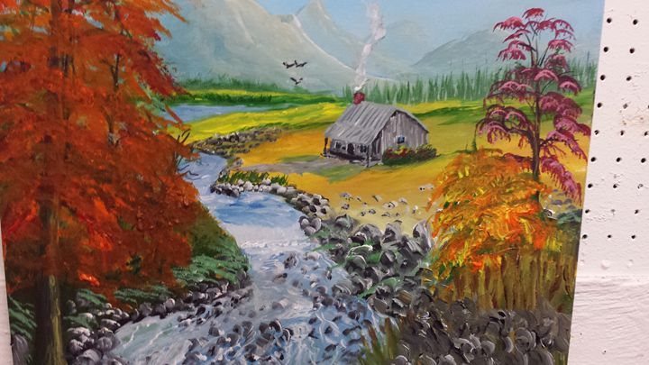 Fall Stream and cabin - Dave'sArt