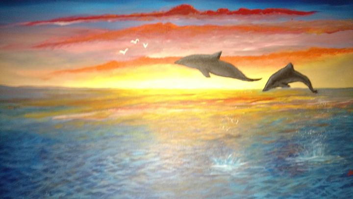 Dolphin's  In Sunset///SOLD - Dave'sArt