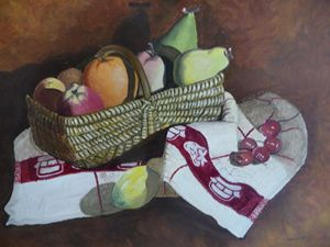 Basket of fruit in oils.