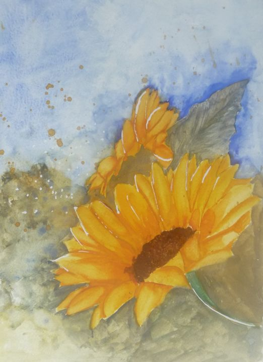 French Sunflower in Watercolour - Sheilah's Art