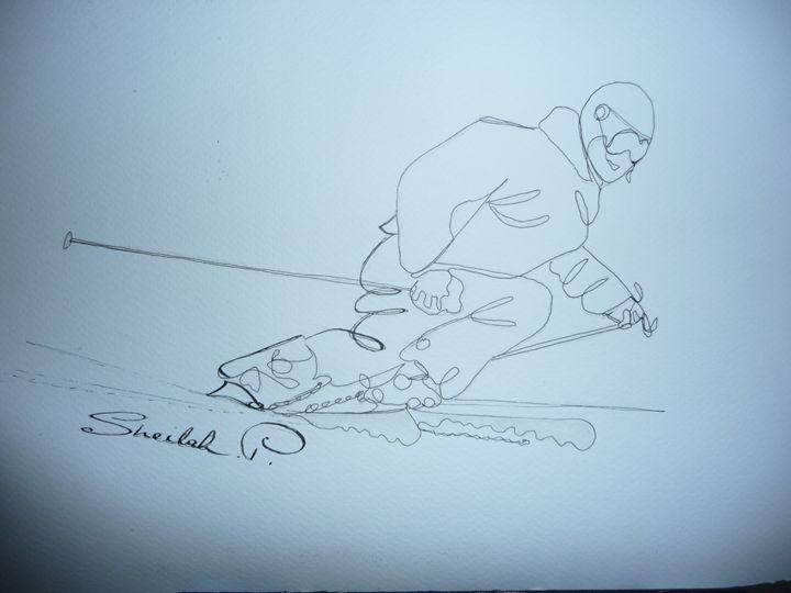 Snow line drawing of skier. - Sheilah's Art