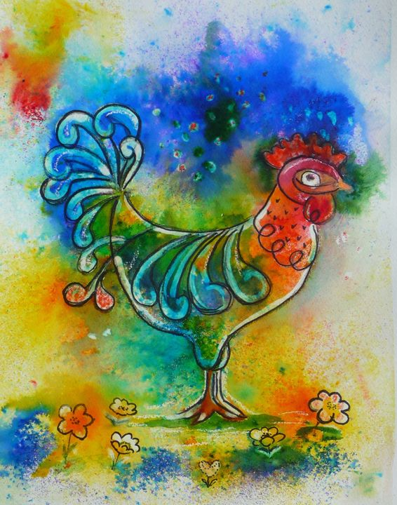 Colourful Cockerel - Sheilah's Art