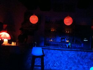 Red, blue effect of night bar