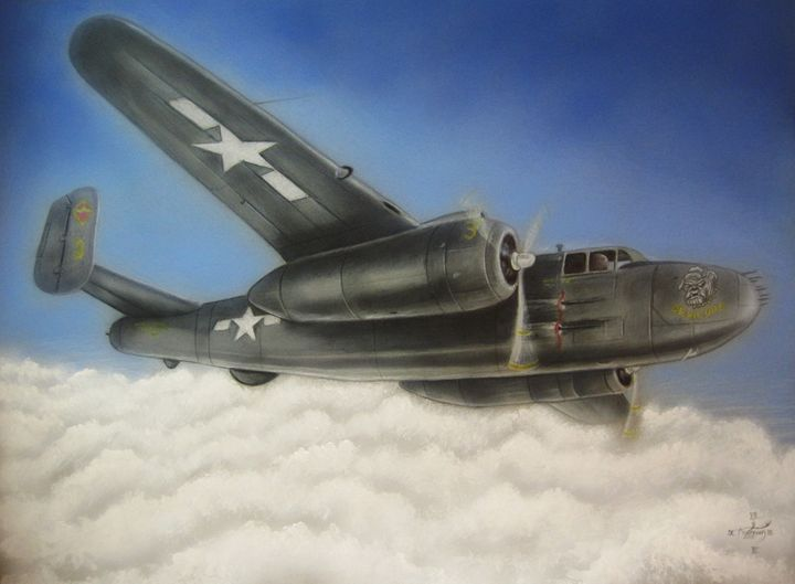 Devil Dog airplane in flight - Jonathan Anderson Artist