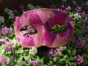 Pink Glitter Masquerade Mask - Alexandra