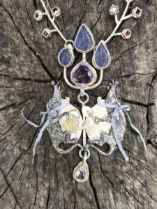 Moles as Gardenworkers necklace - BENANDLU Art - Evgenia Alexeeva