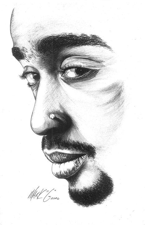 Silhouette of Tupac Shakur - Art by Mark G