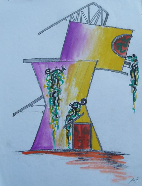 gradation house - Watercolour Drawing