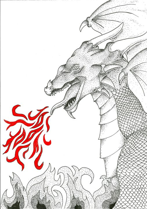 Fire Breathing Dragon - L. Carleton Art