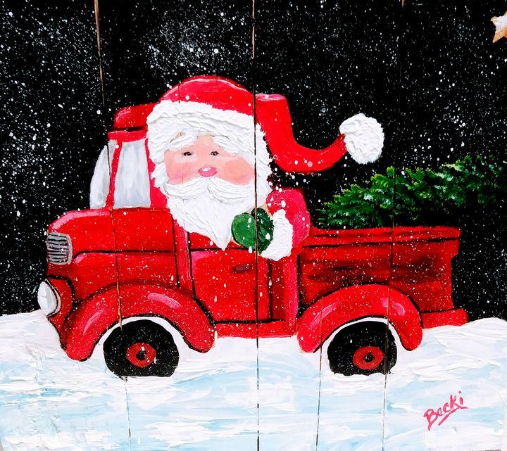 Santas red truck - Becki