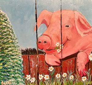 Happy Pig eating the Daisies