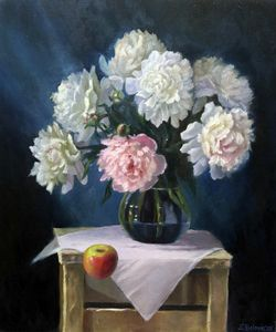 Peonies and an apple.