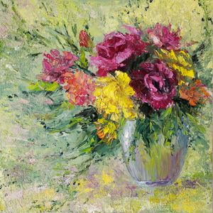 Abstract floral painting original