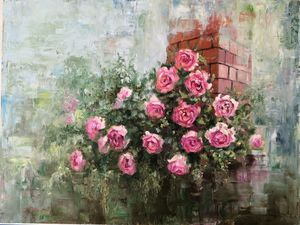 Rose bush on a brick wall background - Artworks by Svetlana Belova