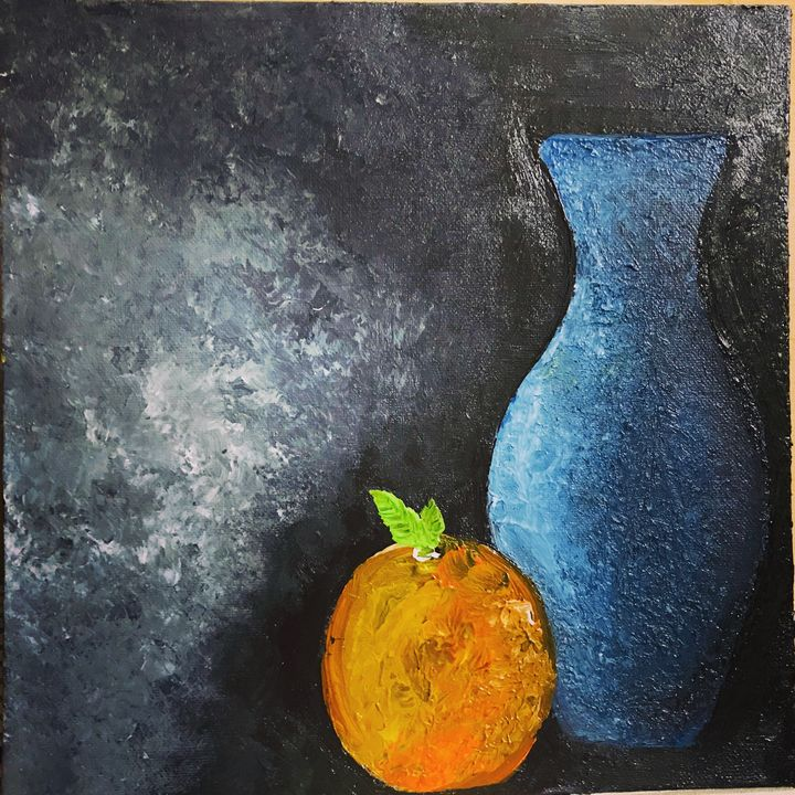 A fruit and a vase - Strokes