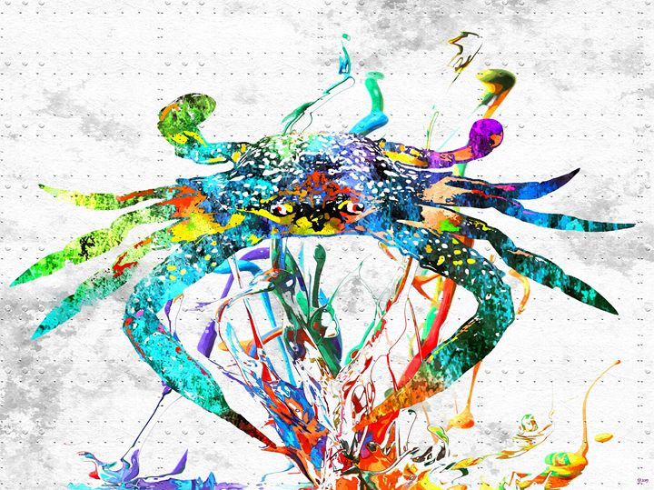 Blue Crab Colored Grunge - Daniel Janda