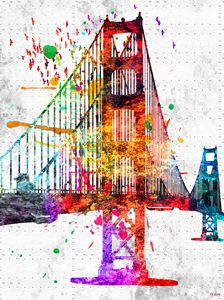 Golden Gate Bridge Colored Grunge