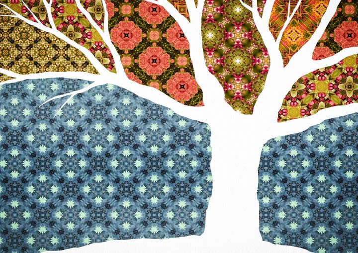 Abstract Winter Tree Illustration. - Color Mix