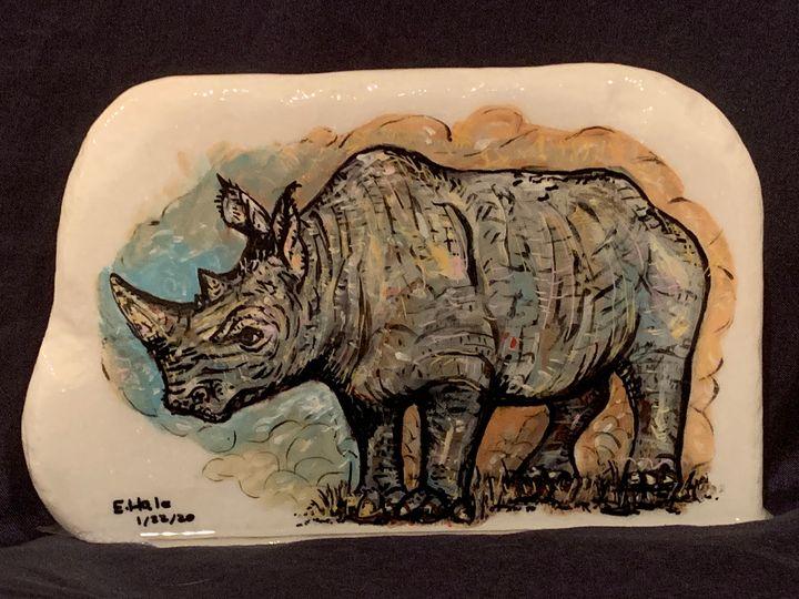 Rhinoceros Rock Painting - Hale Family Art