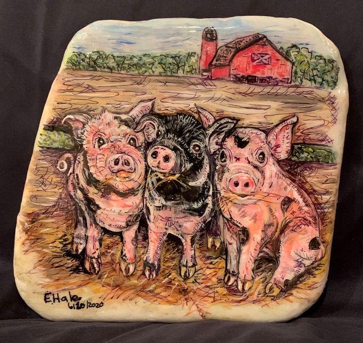 Pigs on the Farm - Hale Family Art