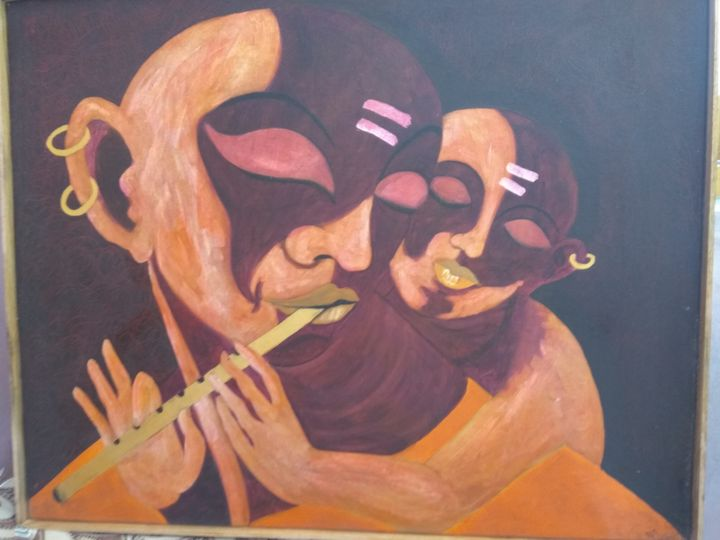 Son Play Flute With Papa - Nirman Art