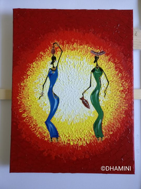 African dolls acrylic on canvas - Dham's gallery