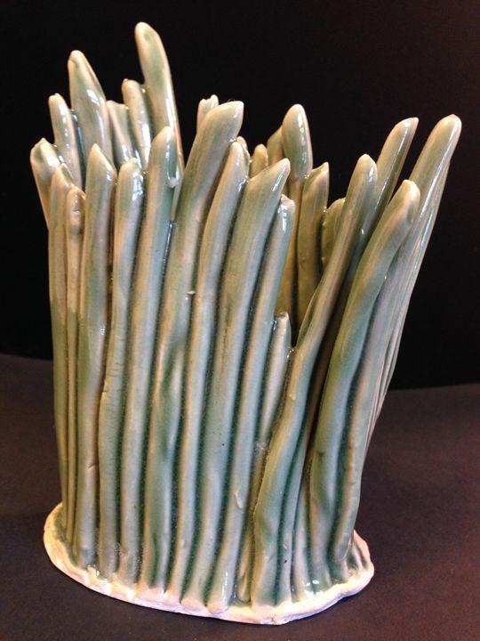 "art piece (vase) ""Green Grass #5"" - Maria's Gallery"