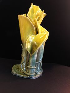 "Art piece (vase) ""Yellow Flowers"""