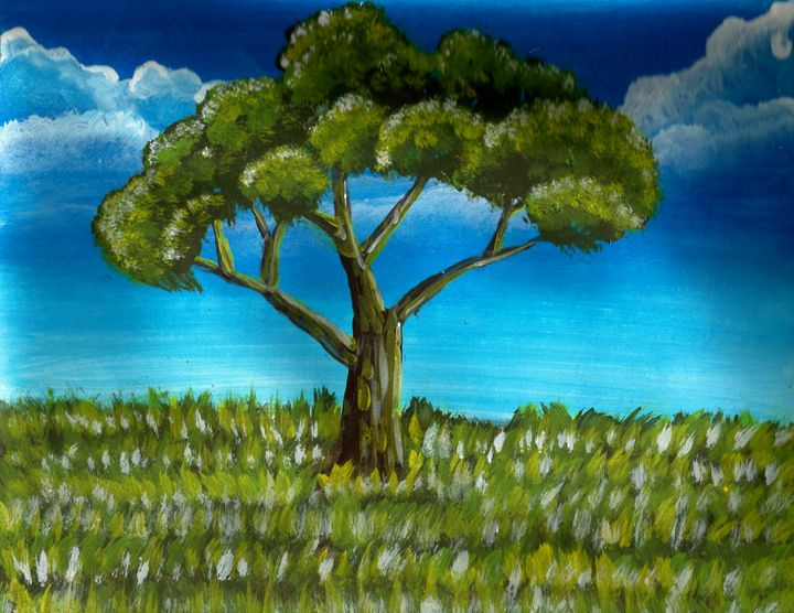Tree Painting with Landscape - Americo Salazar