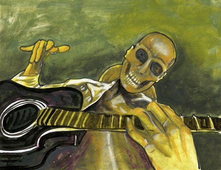 Skeleton Man Playing Guitar - Americo Salazar