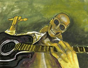 Skeleton Man Playing Guitar