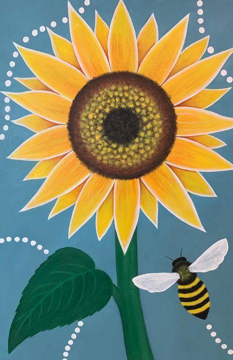Sunflower and Bee - WolfspawnArt