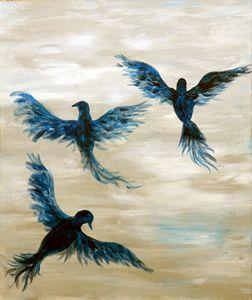 blue birds fly