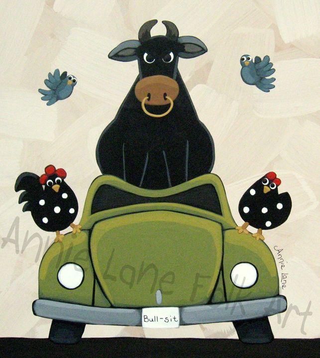 Bull Sit - Annie Lane Folk Art
