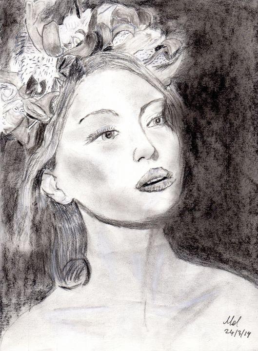 Portrait. Unknown Female. - Mel Beasley Arts