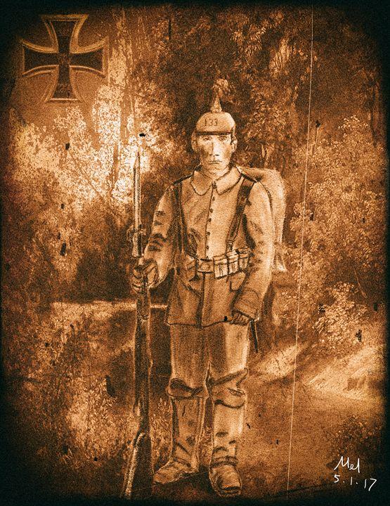 WW1 German Soldier  - Mel Beasley Arts - Digital Art, People