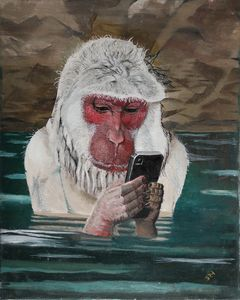 Snow Monkey with Smart Phone