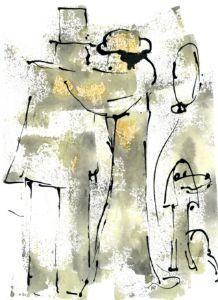 A Couple with a happy Dog - Artist Ekaterina Yakovina