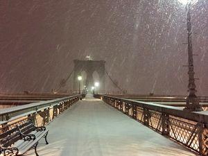 Brooklyn Bridge on snowy day
