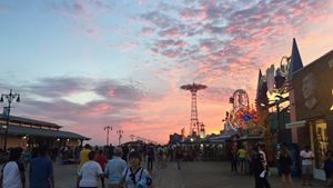 Pink sky in Coney Island