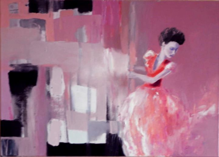A WOMAN IN RED year 2012 oil on canv - Anna Zygmunt Art